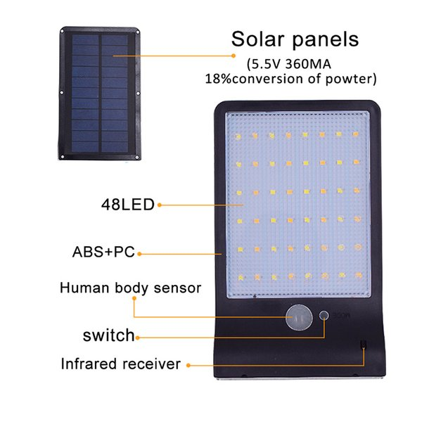 48 Two-color remote control Solar Garden Light IP65 outdoor led light without pole led street lamp