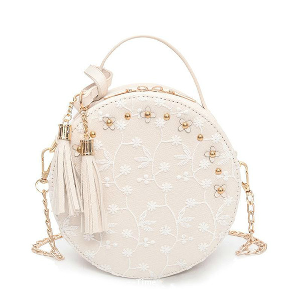 Sweet Lady Lace Handbags 2019 Fashion New Women Tote Bag Mini Round Phone Bag Flower Tassel Purse Chain Shoulder Messenger Bag