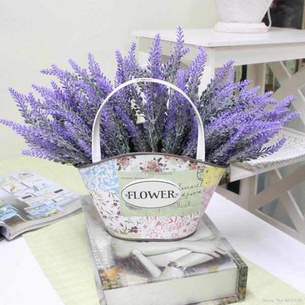 Romântico Provence decoração de lavanda flor de seda artificial flores grão Simulação decorativo de plantas aquáticas Home da decoração