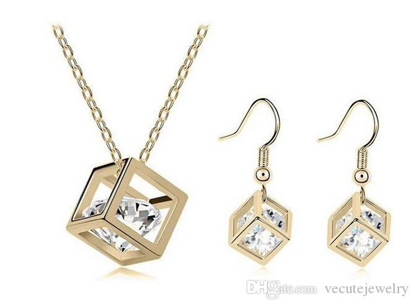 18K Gold Plated Rehinestone Cubic Necklace Earrings Jewelry Sets for Women Swarovski Crystal Jewelry Sets Wholesale Price
