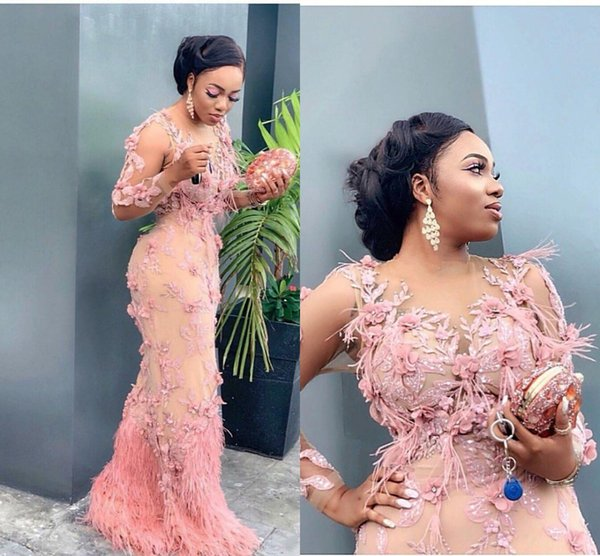 Aso Ebi Arabic Luxurious Lace Beaded Evening Dresses Mermaid Long Sleeves Peach pink Feather Formal Party Second Reception prom Gowns