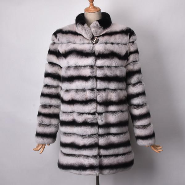 Fashion Style Women Winter Real Rex Rabbit Chinchilla dyed Fur Coat