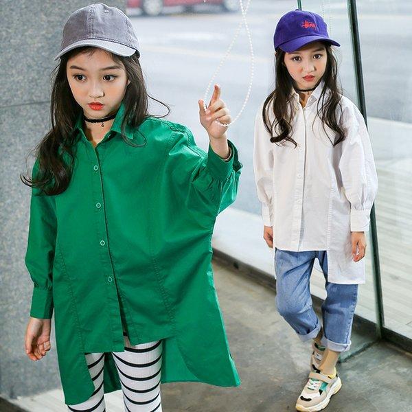 Adolescent Blouse Pour Les Filles Blanc Vert À Manches Longues Chemises Automne Bébé Fille Boutique Vêtements 2018 New Fashion Toddler Fille Vêtements