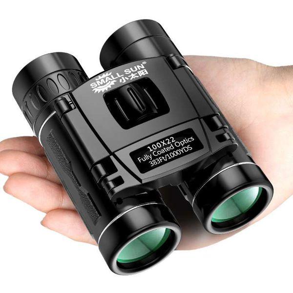 100X22 HD Binocular Mini Bolso Telescópio Portátil Dia Night Vision Caminhadas Camping Caça Binóculos de Viagem Engrenagem