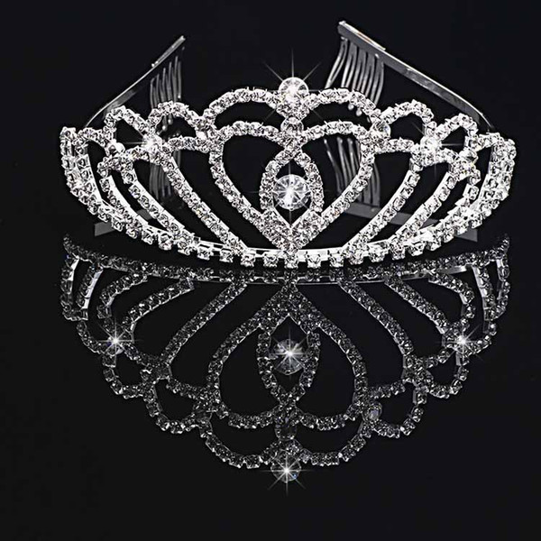 best selling Girl's Tiaras Wtih Rhinestones Crystals Hair Accessories Evening Prom Party Performance Pageant Tiaras and Crowns For Girls DB-T003