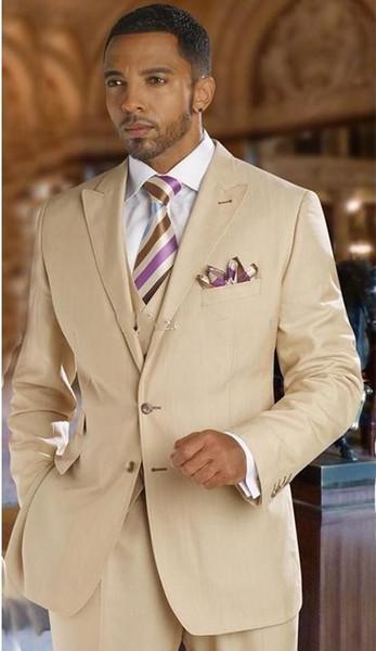 Classic Design Beige Groom Tuxedos Peak Lapel Two Button Groomsmen Mens Wedding Suits Excellent Man Suits(Jacket+Pants+Vest+Tie) 712