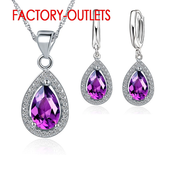 Set di gioielli di moda in argento sterling 925 con design a goccia d'acqua in cristallo