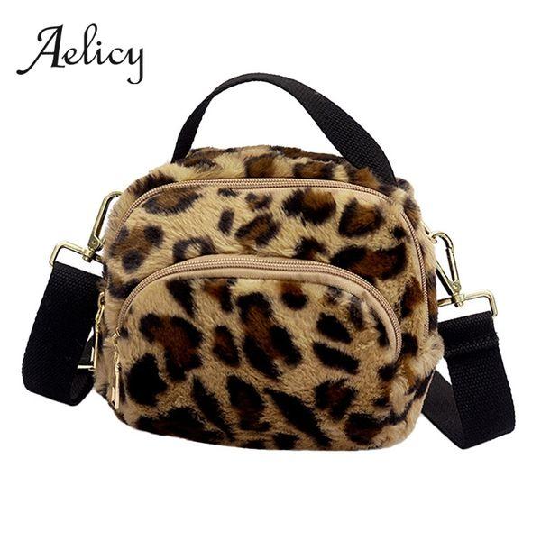 Aelicy Women Leopard Print Zipper Plush Crossbody Bag Clutch Shoulder Bag Messenger Bags Phone Handbags Purses Small Mini