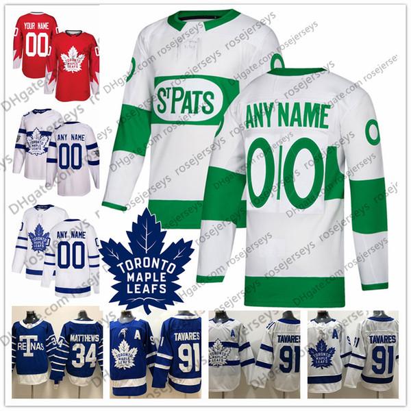 Personalizzato Toronto Maple Leafs 2019 St. Pats White Blue Jersey Qualsiasi numero Nome uomini donne giovani bambini Marner Kapanen Kadri Rielly Muzzin Johnsson