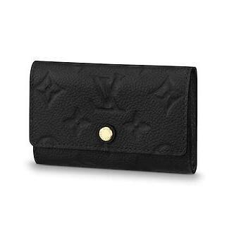 2019 M64421 6 KEY HOLDER Embossing black Real Caviar Lambskin Chain Flap Bag LONG CHAIN WALLETS KEY CARD HOLDERS PURSE CLUTCHES EVENING