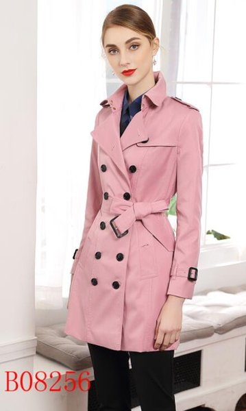 NOVO CLASSICO! Moda feminina Inglaterra britânico meio longo casaco de trincheira / alta qualidade marca design double breasted trench coat tamanho S-XXL 5 cores