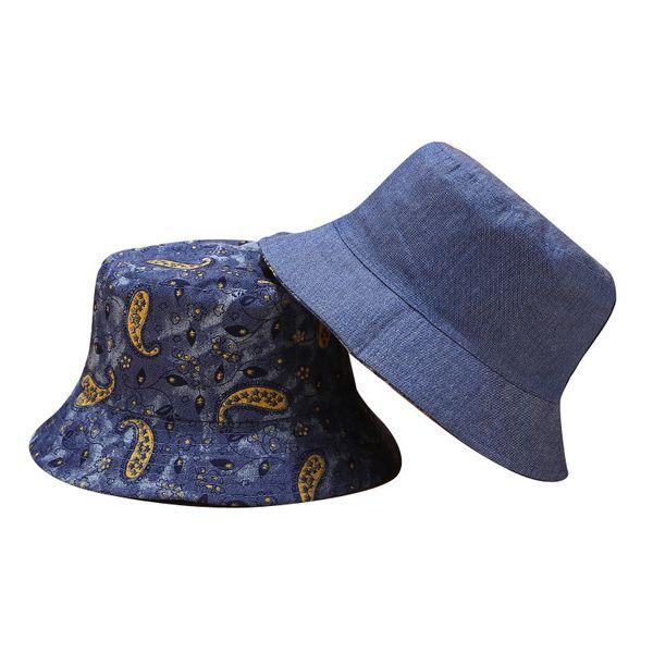 NEW Cowboy Denim Bucket Hat Navy Blue Denim Jean Women Fishing Cap Korean Women Mens Flat Brim Outdoor Hat