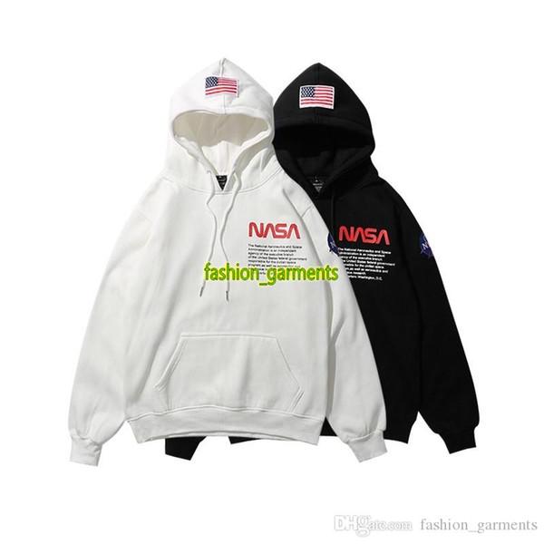 Новый НАСА Hoodie Hip Hop Street Sport Мужские дизайнерские толстовки Свободная посадка Heron Preston Пуловер Толстовка