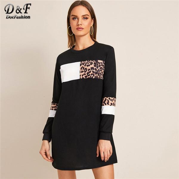 dotfashion black contrast leopard print straight dress women 2019 autumn sweatshirt dresses ladies casual colorblock dress