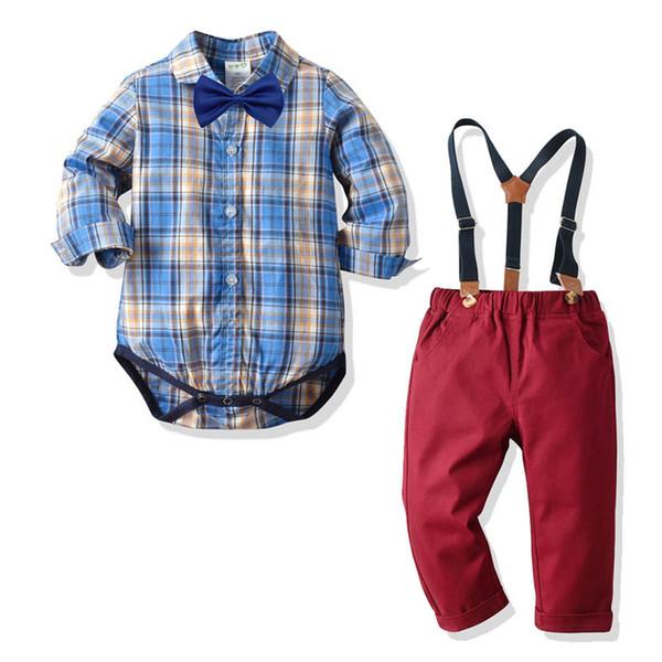 Костюмы мальчиков для новорожденных костюмы Детские одежда мальчик детские младенческой мальчик дизайнерская одежда с длинным рукавом комбинезон рубашка+подтяжк брюки в розницу A7757