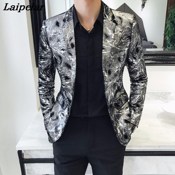 Americana Hombre Blazer Masculino Slim Fit Silver Printed Blazers Mens Stage Wear Smart Casual Club Outfits Vetement Homme 2018