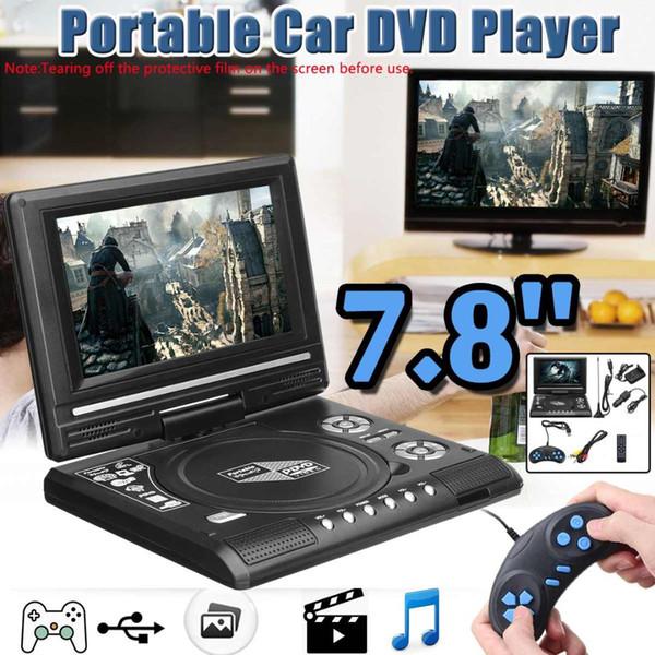 Lettore DVD portatile da 7,8 pollici TV HD per auto da casa Lettore DVD VCD Lettore DVD MP3 Schede SD USB RCA TV Portatil Cavo Gioco 16: 9 Ruota schermo LCD