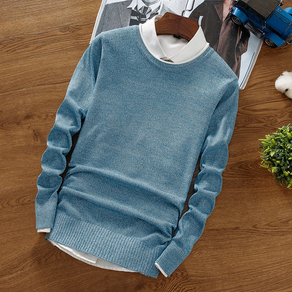 BKTrend 2017 nuevo guapo suéter de cachemira hombres de manga larga Slim Fit cuello redondo para hombre suéteres y suéteres de navidad para hombre