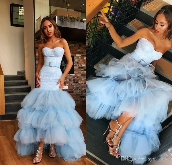 Sky Blue 2k19 black girls prom dresses 2019 formal tired girls pageant cocktail party evening dress for occasions