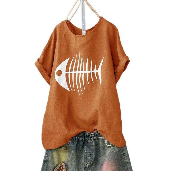 Mujeres 2019 Summer Fishbone Imprimir Camiseta Femme Divertido Princesa Harajuku Camiseta Coreana Tops Kawaii Streetwear Camiseta Mujer