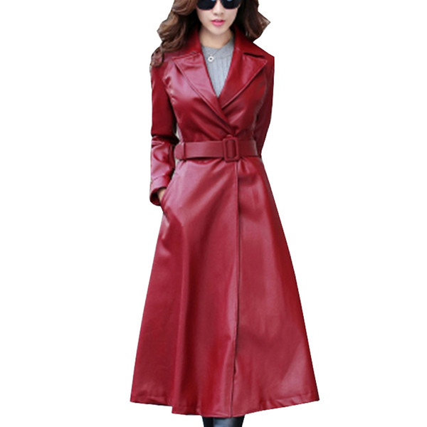 2019 Mulheres Jaqueta de couro Top Fashion Novo Plus Size Fino Pu Removível Senhoras Faux Sintético Longo Couro Trench Coat Feminino