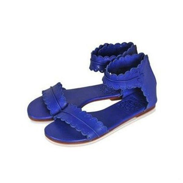 Women Retro Flats Leather Bohemia Sandals Summer Female Open Toe Beach Shoes Lady Zip Casual Flip Flop Sandalias Size 35-41