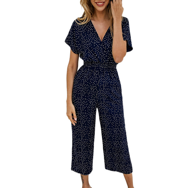 Strampler Womens Overall Spitze lange Hosen Frauen Sommer Taschen V-Ausschnitt Kurzarm Dot Printing Strampler Jumpsuit Playsuit D300503