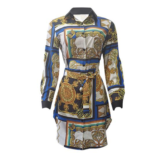 Women Printed Shirt Dress Designer Single Buttlefly Sleeves Party Dresses Button Bow Casual Belt Clothing Female