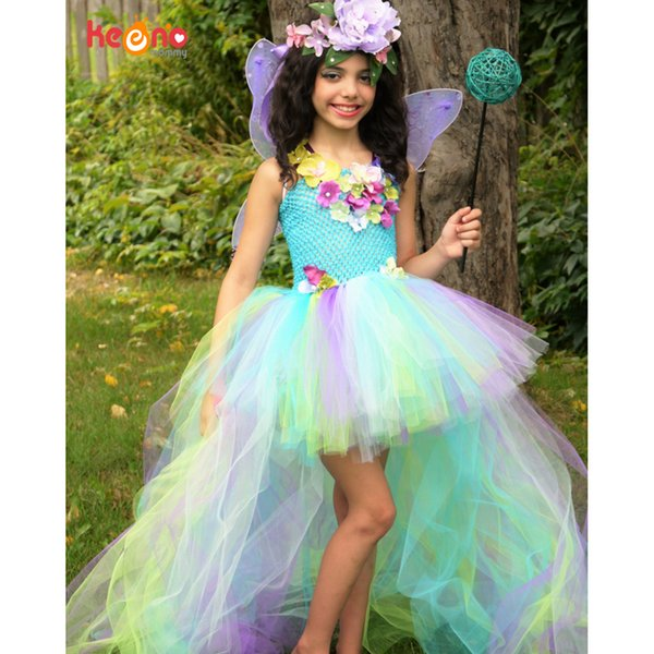 Exquisite Peacock Water Fairy Tutu Dress Girls Birthday Festival Party Pageant Costume Kids Teal Turquoise Purple Ball Gown MX190724