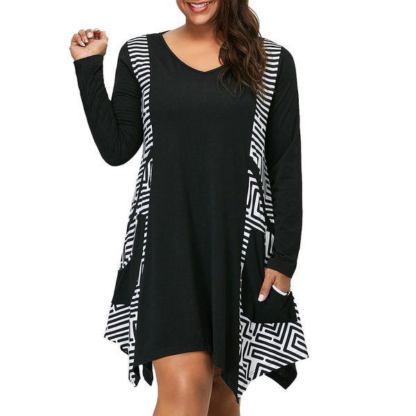 Women Dress Women designer clothes 2019 Plus Size V-neck Long Sleeve Irregular Hem Asymmetrical Mini Dress Pockets Roupa Feminina