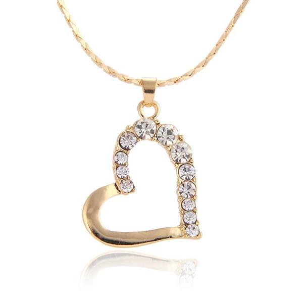 Nova marca 24 k 18k pingentes de coração de ouro colar de jóias de moda gemstone colar de cristal