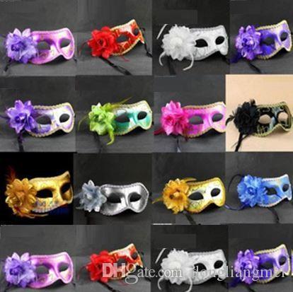 Мода Женщина Верхнего лицо Сексуальной маска Hallowmas маска венецианского глаз маскарадных маски с цветок пером Пасха танца партия праздника маска H22