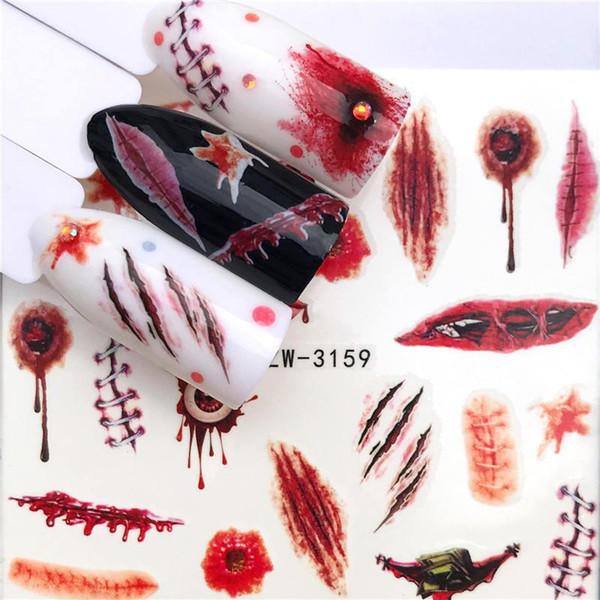 ZKO Sticker Seksi Kafatası Kemik Su Transferi Çıkartmaları Çiviler Folyo Manikür Dekorasyon Makyaj 100 adet / grup Cadılar Bayramı Nail Art