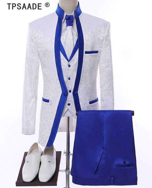White Royal Blue Rim Stage Clothing For Men Suit Set Mens Wedding Suits Costume Groom Tuxedo Formal (Jacket+pants+vest+tie)