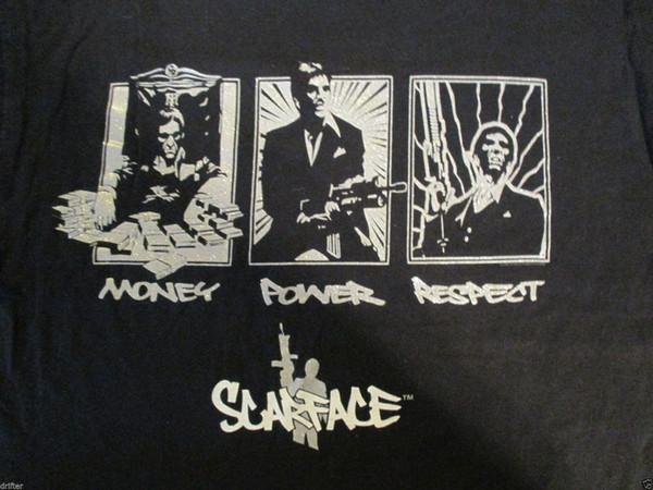Scarface Money Power Respect Футболка Размер L Мужчины Женщины Мужская Мода футболка Бесплатная Доставка черный