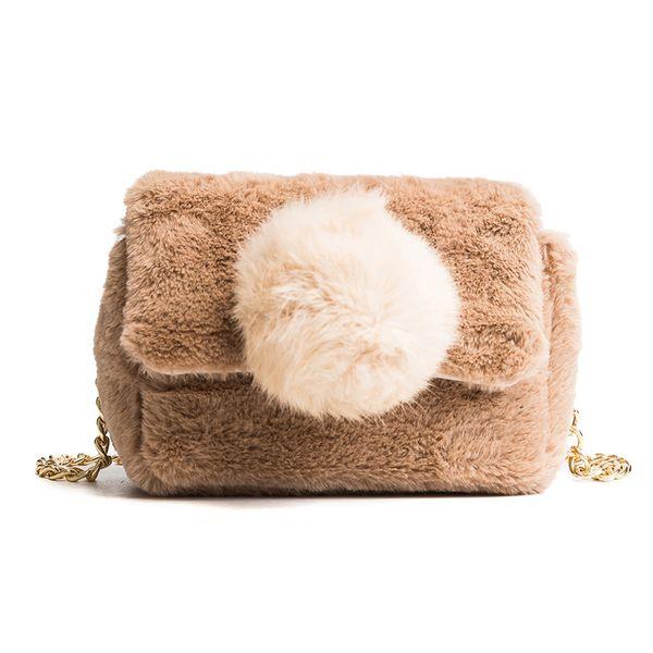 good quality Fashion Fur Rabbit Hair Ladies Messenger Bags Hairball Women Handbag Chain Bucket Bag Winter Soft Lady Designer Bag