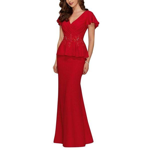 2019 Sexy V Neck Chiffon Mother of the Bride Dresses Long Evening Gowns Peplum Beads Applique Prom Party Dress vestido mae da noiva