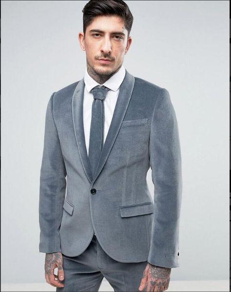 Ucuz Ve Ince Kadife Groomsmen Şal Yaka Damat Smokin Erkek Takım Elbise Düğün / Balo / Akşam Yemeği Best Man Blazer (Ceket + Pantolon + Kravat) 146