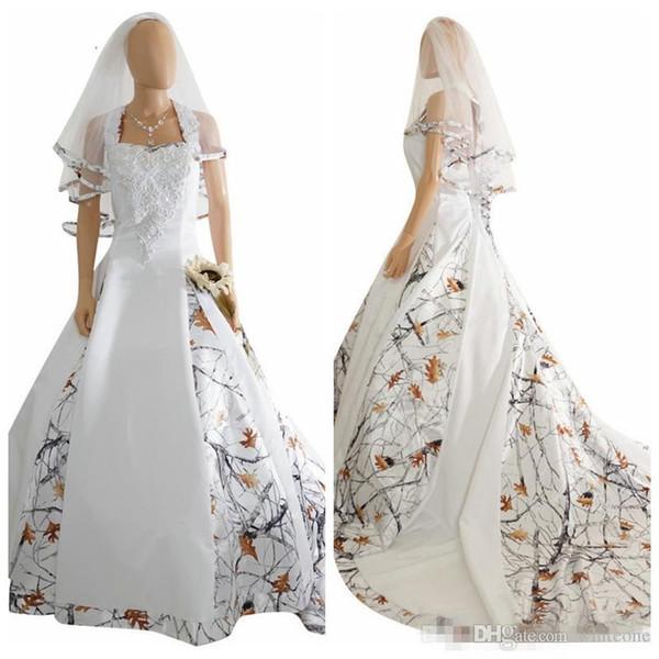 Halter White Camo Satin Robe De Mariée Sur Mesure Appliques De Mariée Robes De Mariée À Lacets Corset Retour Longue Camouflage Robes De Mariée
