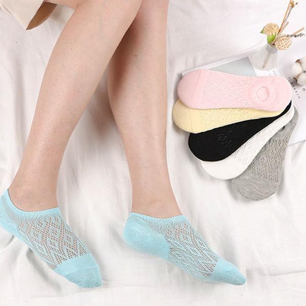 Calcetines transpirables de moda Calcetines cortos Mujeres Accesorios de color caramelo Algodón casual transpirable