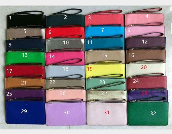 Estilo caliente dama 32 colores diseñador de la marca carteras pulseras mujeres monederos bolsos de embrague cremallera pu muñecas de diseño de la pu