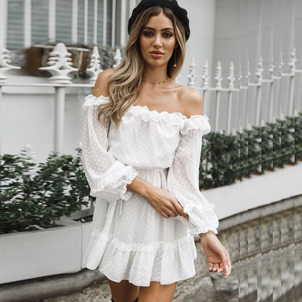 best selling Sexy Dot Printed Autumn Off Shoulder Ruffles Dresses Long Sleeve A-line Women Dress Robe Femme Ete 2018 C19040402