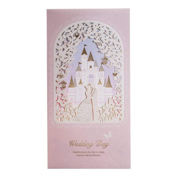 Wishmade Blush Wedding Invitations With Princess And Prince In Castle Shimmer Floral Invitation Cards Customizable Free Cards To Send Free Christmas