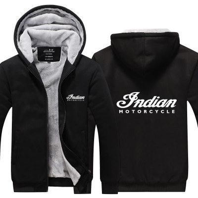 2019 sudadera con capucha de invierno Indian Motocicleta Hombres mujeres Espesar Otoño Sudaderas con capucha ropa sudaderas Cremallera chaqueta sudadera con capucha de lana streetwear
