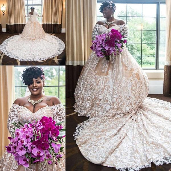 Свадебные платья большого размера с белым шампанским и длинными рукавами 2019 с открытыми плечами Кружевная аппликация Собор Афикан Свадебное платье на арабском языке