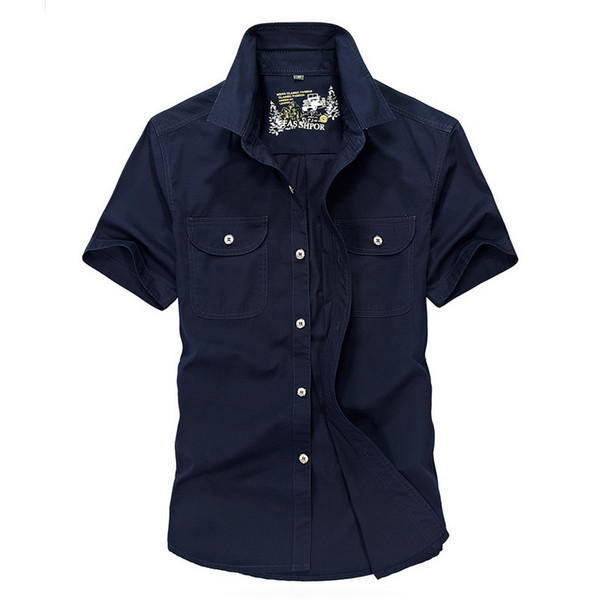 Shirt Men Summer Casual Short Sleeve Turn-down Collar Men Shirt Cotton Breathable Chemise Homme Mens Big Size 4XL