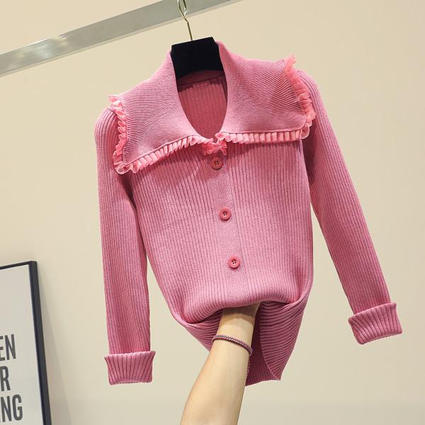 Slim Strickpullover Weibliche Ice Silk Grundlegende Jacke Frauen Neue Rüschen Gaze Titching Puppe Kragen Strickjacke Frühling Mädchen Damen Tops