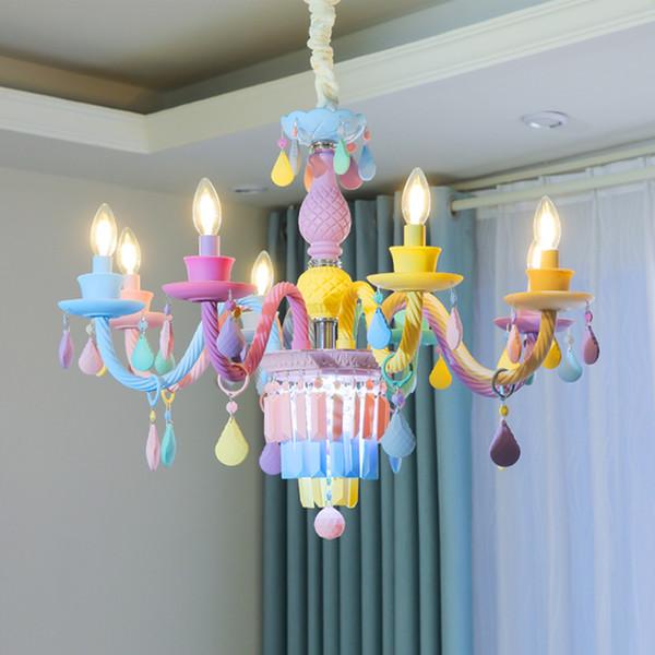 Cafe Color Crystal Chandelier Romantic Living Room Dining Room Crystal Lamp  Children\'S Bedroom Light Fixtures Modern Led Chandelier Lighting Wine ...