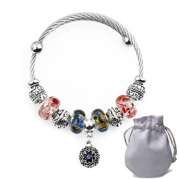Titanio De Acero Alambre Encantos Pulseras Fit Pandora Mujeres Cristal de Murano Perlas de Cristal Calado Cameo Brazalete de Plata Flor colgante de Joyería P159