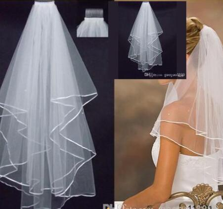 2019 new Real Image In Stock 1 Layer White Ivory tulle Edge Comb Veils For Wedding Dresses Party Gowns Bridal Accessories 11001